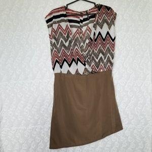 UMGEE | stripe zigzag asymmetrical hem tunic top
